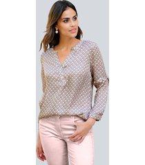 blouse alba moda offwhite::beige::roze