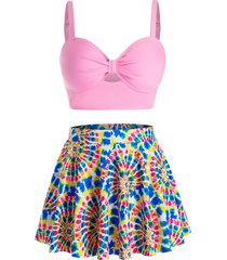 plus size spiral tie dye print skirted three pieces tankini swimwear