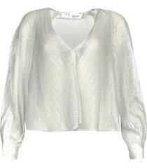 transparante blouse met lurex noumea  zilver