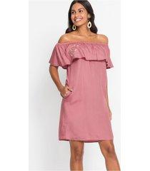 carmen jurk met borduursel van lyocell tencel®