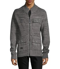 textured cotton-blend full-zip sweater