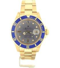 rolex submariner solid 18kt 18k yellow gold date watch blue sub diamond 16618