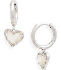 women's kendra scott ari heart huggie hoop earrings