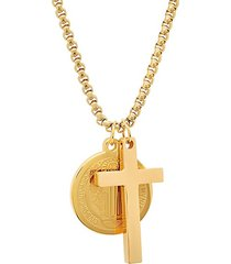 18k goldplated stainless steel cross & coin pendant necklace