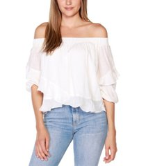 belldini black label petite off-the-shoulder ruffle top with blouson sleeves