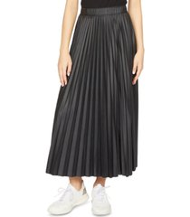 sanctuary top secret pleated faux-leather midi skirt