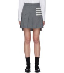 four bar stripe pleated wool mini skirt