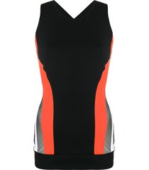 no ka' oi cross strap compression vest top - black