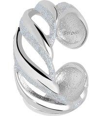 anello a fascia regolabile in ottone rodiato e glitter per donna