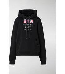 burberry flag appliqué hoodie