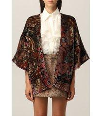 etro cardigan etro velvet kimono with paisley pattern