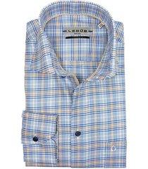blauw geruit ledub overhemd two ply katoen