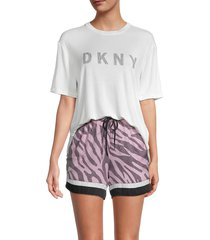 dkny women's 3-piece t-shirt, boxers & sleep mask pajama set - white pink combo - size xl