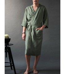 hombres inicio pure color ocio lino nudo abrigo albornoz batas