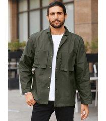 chaqueta casual de manga larga con bolsillos dobles en el pecho para hombre