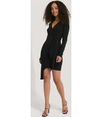 na-kd party asymmetric hem mini dress - black