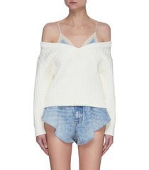 satin camisole bi-layer cable knit sweater