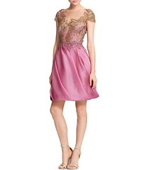 embellished abstract butterfly organza cocktail dress