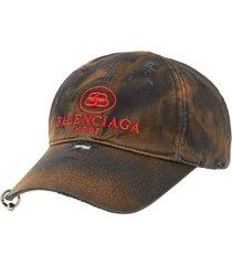 balenciaga bb logo distressed baseball cap, size large in black at nordstrom