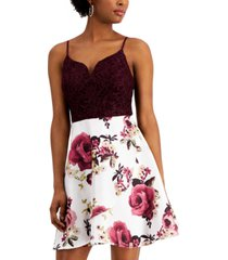 city studios juniors' lace & floral-print fit & flare dress