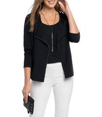 women's nic+zoe perfect conquer lightweight knit moto jacket, size medium - black