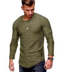 moda cuello redondo delgado de manga larga camiseta hombres-verde