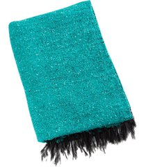 native yoga solid color woven blanket teal cotton