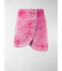 ganni asymmetric washed denim skirt