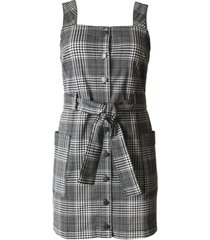 tinseltown juniors' plaid belted overalls dress
