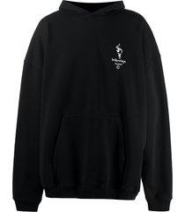 balenciaga embroidered-logo oversize hoodie - black