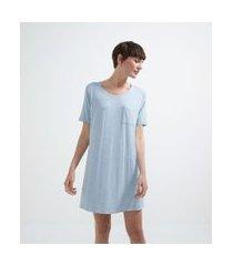 camisola manga curta em viscolycra com bolsinho | lov | azul | g