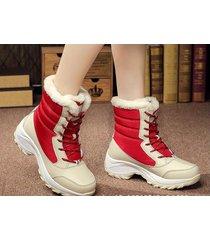 botas de nieve de la plataforma de invierno de las mujeres -rojo