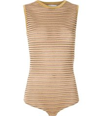 nk bever striped bodysuit - yellow