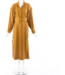 rodebjer moon belted maxi dress brown sz: s