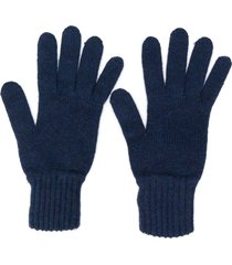 pringle of scotland gloves with ribbed details - blue