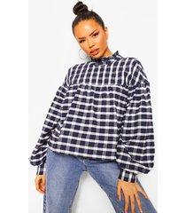 geruite gesmokte blouse, navy