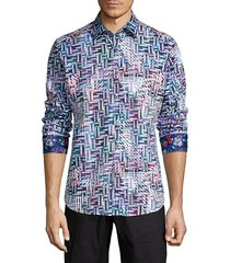 robert graham men's classic-fit geometric-print shirt - size s