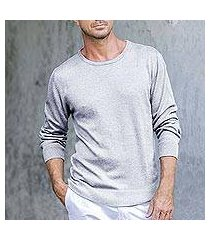 men's cotton blend pullover, 'classic warmth in pearl grey' (peru)