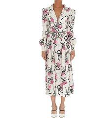 alessandra rich flower bouquet silk print dress