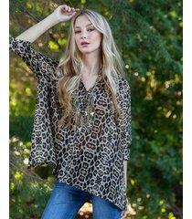 camisa animal print sophya moda
