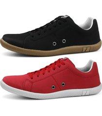 kit sapatãªnis conforto casual rebento vermelho e preto - preto - masculino - lona - dafiti