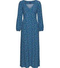 d1. desert rose viscose dress knälång klänning blå gant