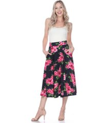 white mark flared flower print midi skirt