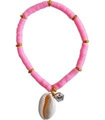 pulseira verão ania store búzios rosa