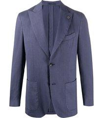 lardini fine knit buttoned blazer - blue