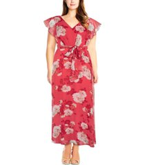 adrianna papell plus size printed chiffon gown