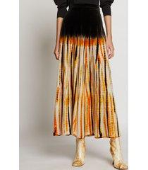 proenza schouler tie dye velvet skirt marigold/pink/black/white l
