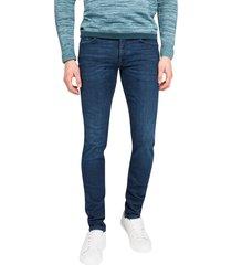 riser slim jeans cast iron donkerblauw