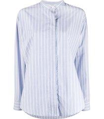 isabel marant satchell stripe-pattern shirt - blue