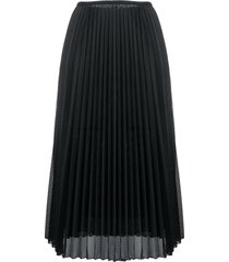 moncler perforated pleated satin midi skirt - black
